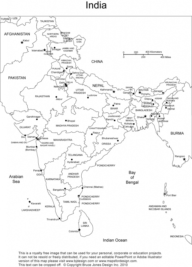 India Printable, Blank Maps, Outline Maps • Royalty Free - India River Map Outline Printable