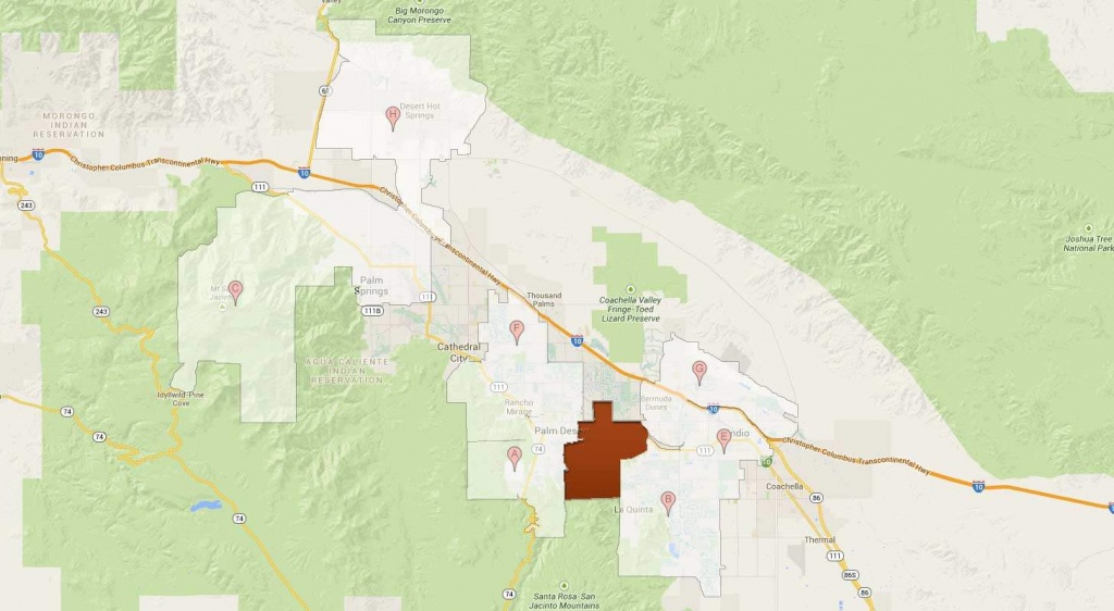 Indian Wells Non-Golf Communities - Indian Wells California Map