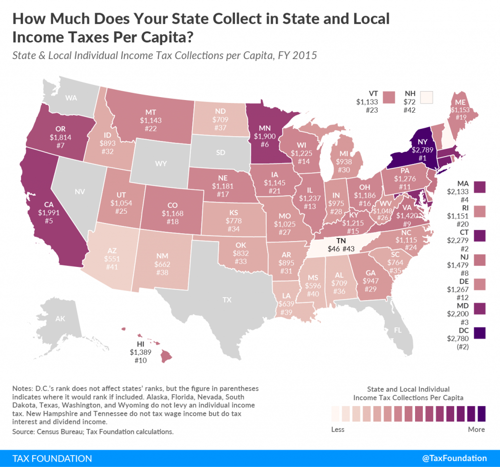 Individual Income Tax Collections Per Capita   Tax Foundation - Texas Property Tax Map