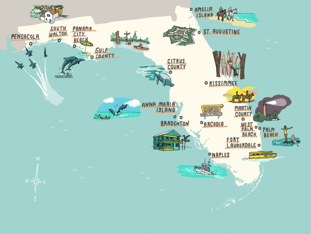 Interactive Florida Map - Laura Barnard / Map Illustrator - Anna Maria Island Florida Map