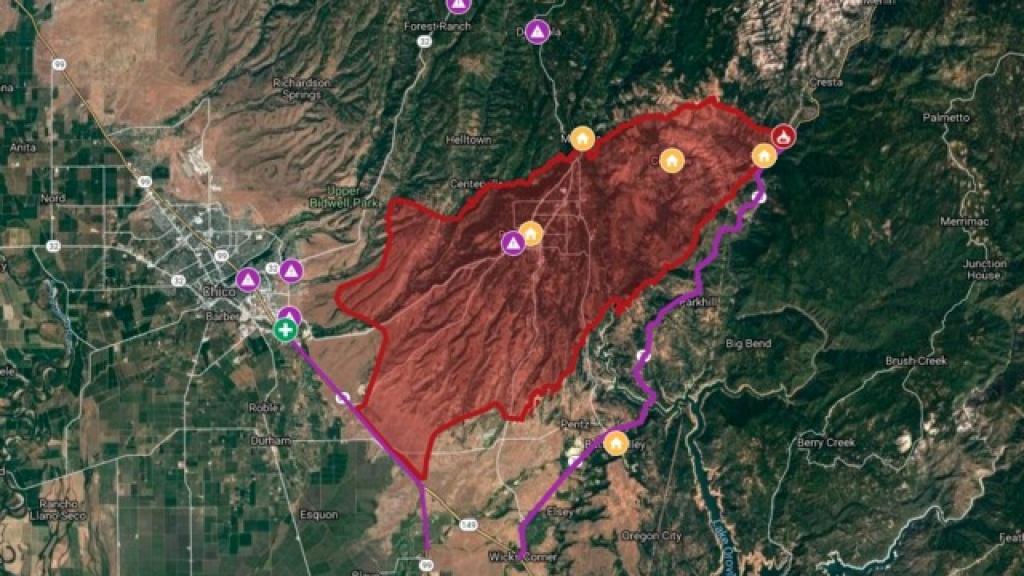 Interactive Map: Camp Fire Burns Through Northern California - Map Of Northern California Campgrounds
