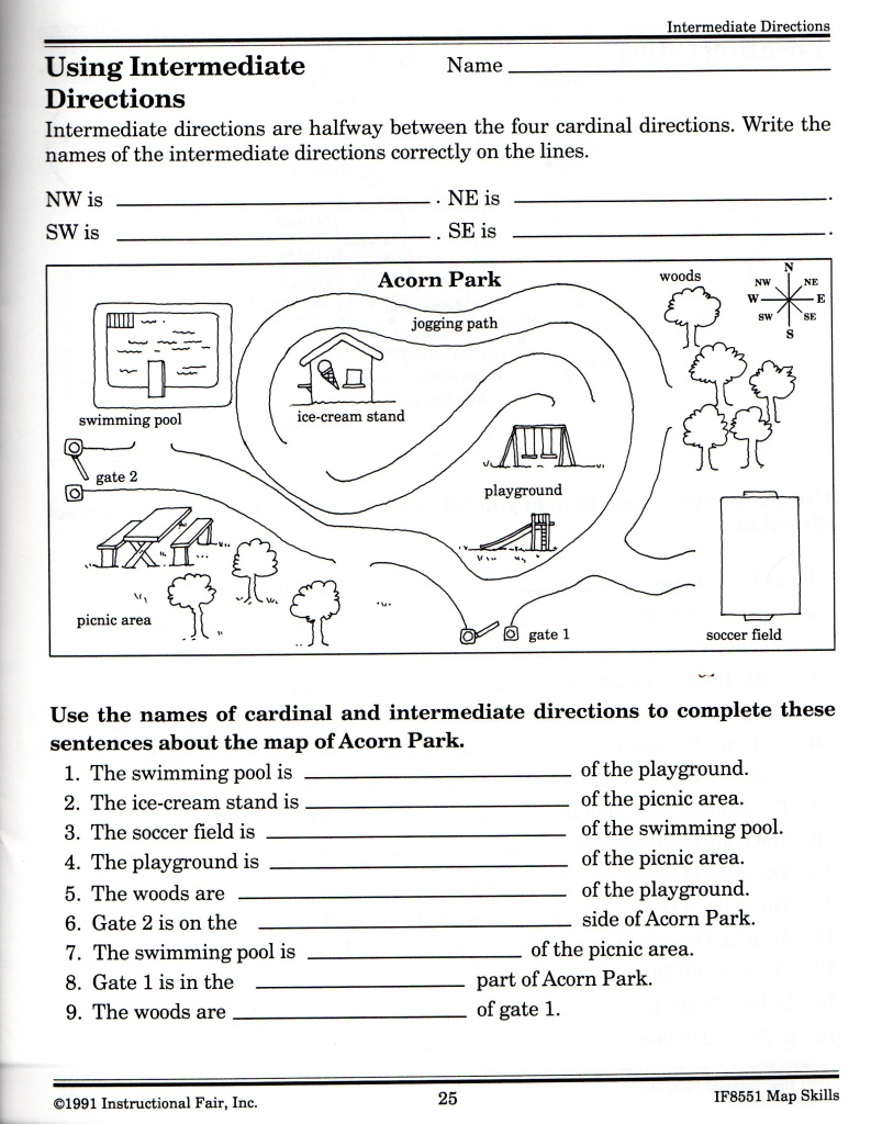 Intermediate Directions Worksheet | Graphic Design & Logos | Map - Map Skills Quiz Printable