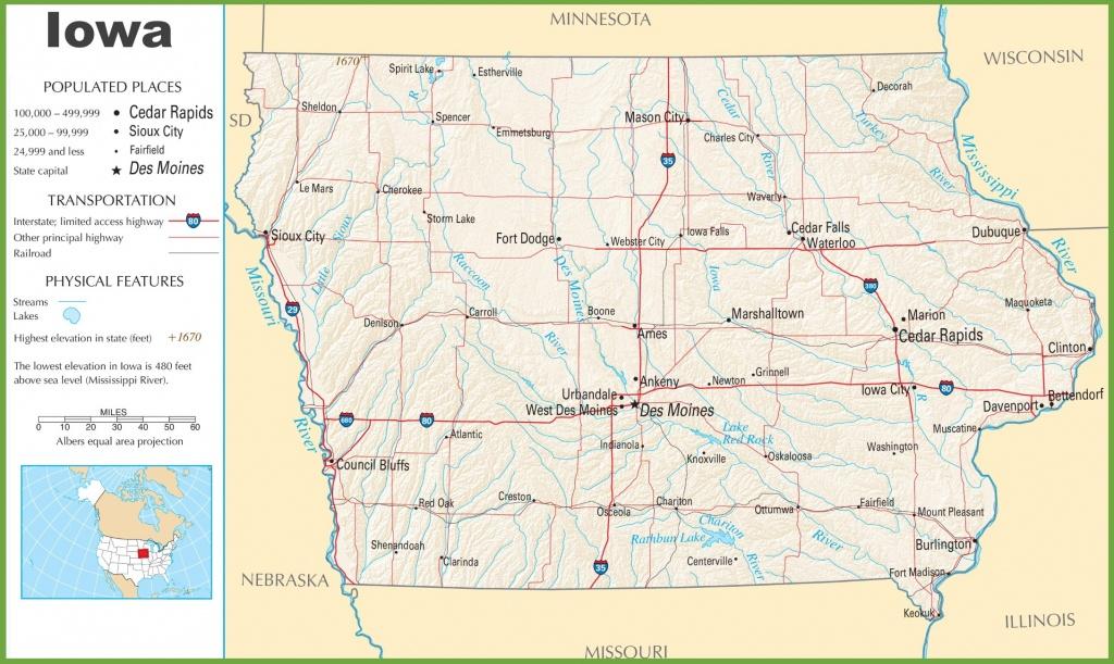 Iowa Highway Map - Printable Map Of Iowa