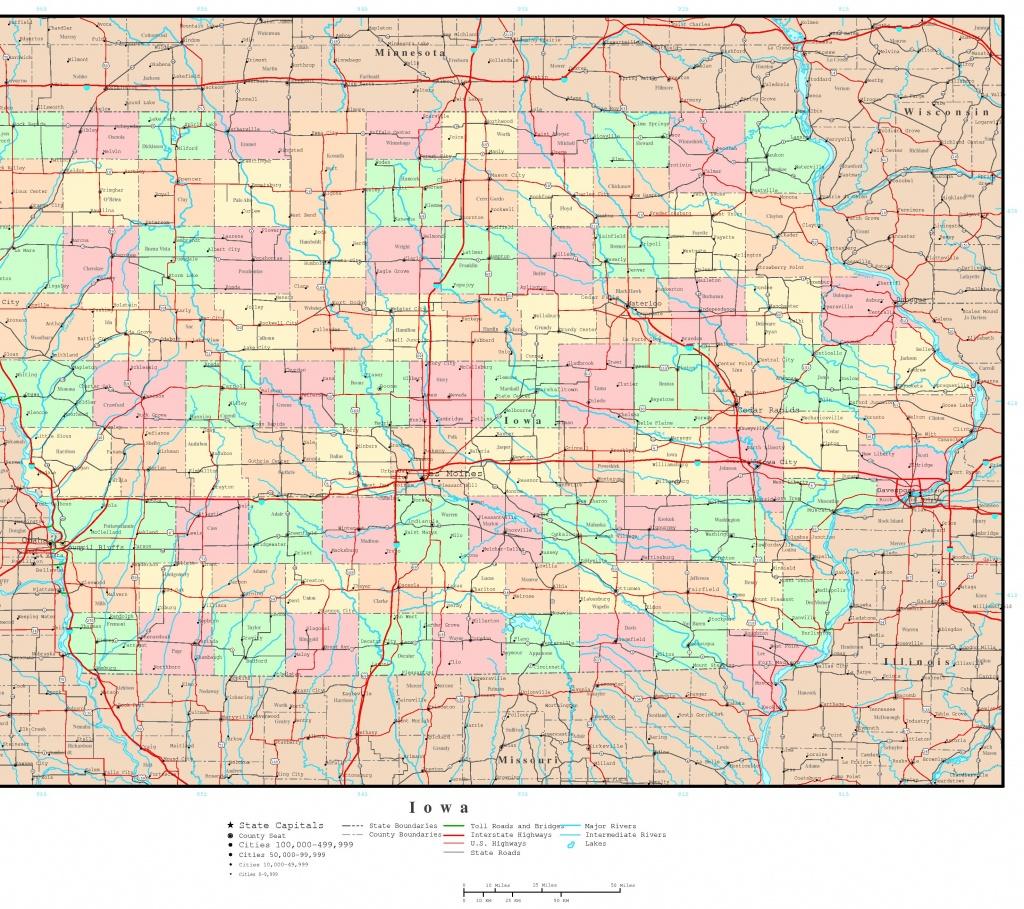 Iowa Political Map - Printable Iowa Road Map