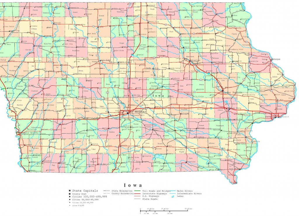 Iowa Printable Map - Printable Map Of Iowa
