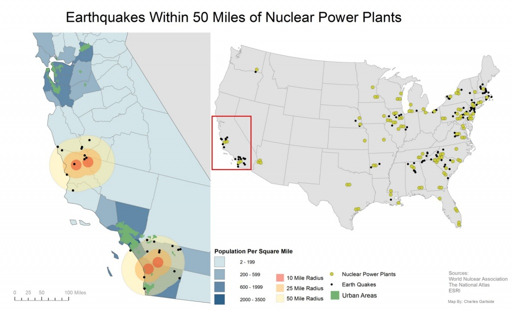 Is California Prepared?: Map Of Earthquakes Within 50 Miles Of - Nuclear Power Plants In California Map