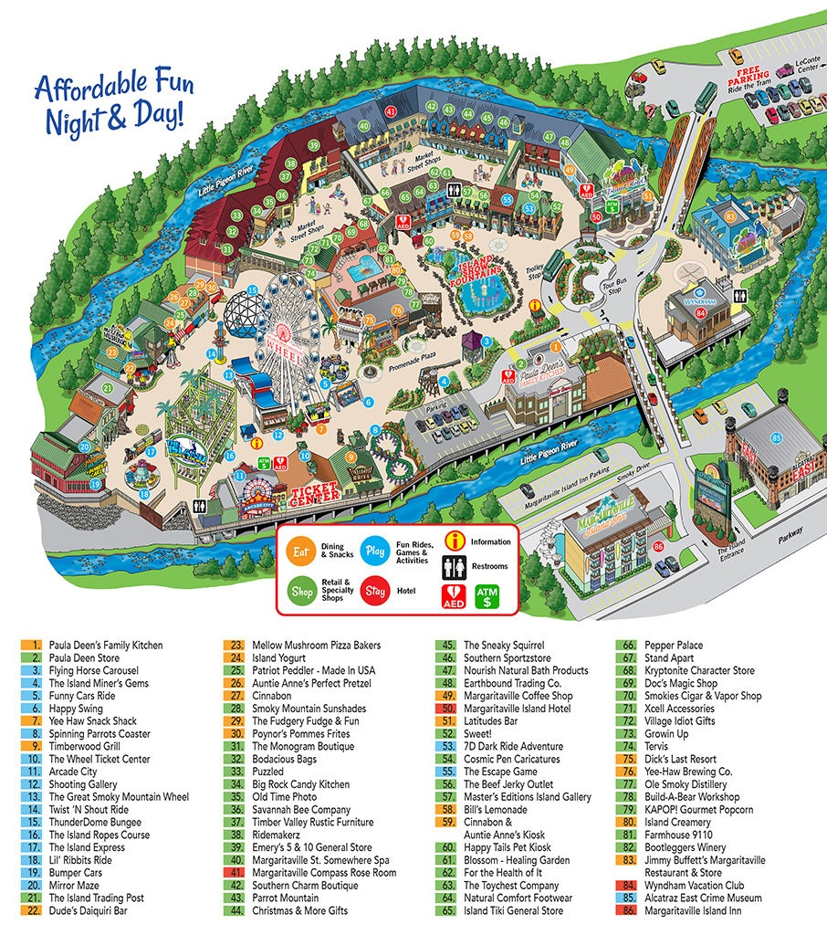 Island In Pigeon Forge Map - The Island At Pigeon Forge - Printable Street Map Of Pigeon Forge Tn