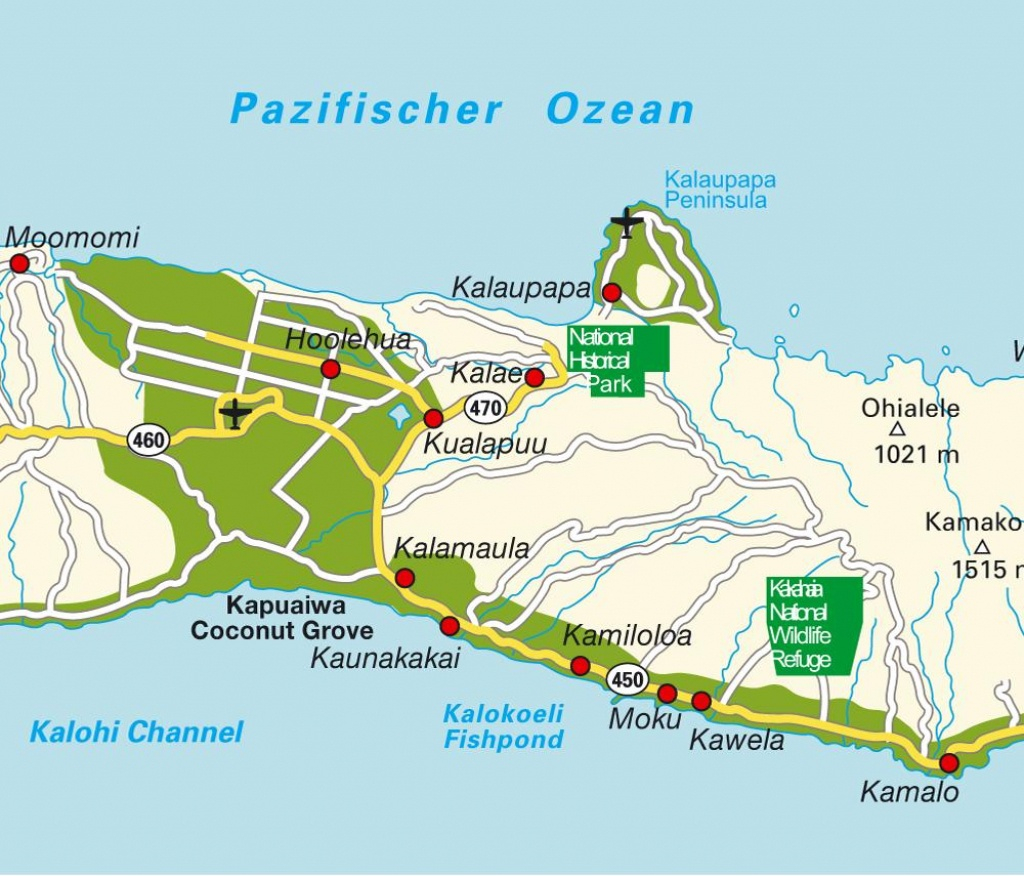 Island Map Molokai Hi, Hawaii, Usa. Maps And Directions At Hot-Map. - Molokai Map Printable