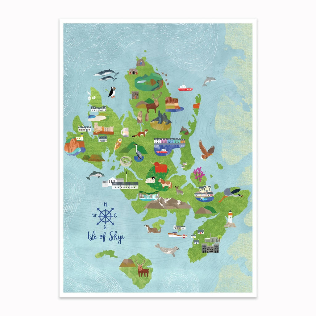 Isle Of Skye Illustrated Mapkate Mclelland Shop - Printable Map Skye