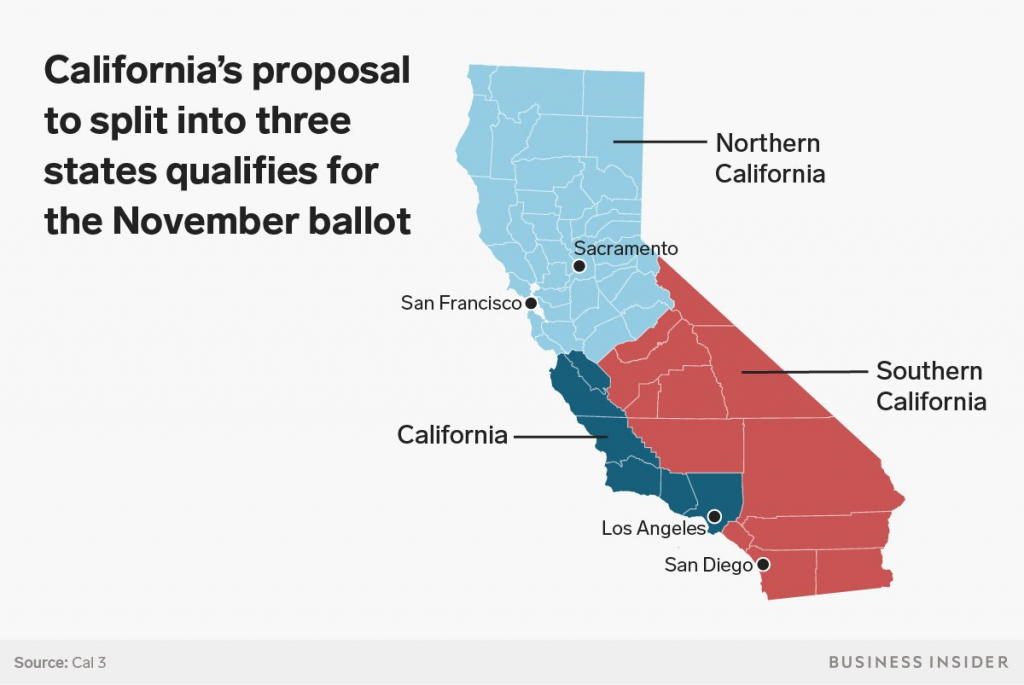 It Would Be Incredibly Difficult For California To Split Into Three - Three State California Map