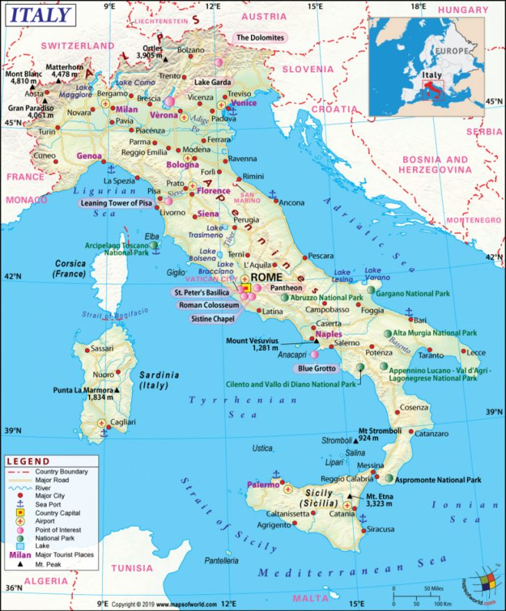 Large Map Of Italy Printable