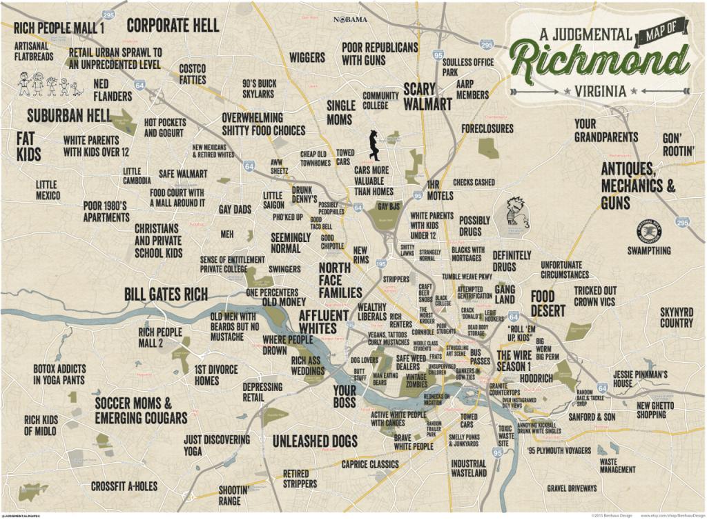 Judgmental Maps — Richmond, Vabenhaus Design Copr. 2015 Benhaus - Printable Map Of Richmond Va