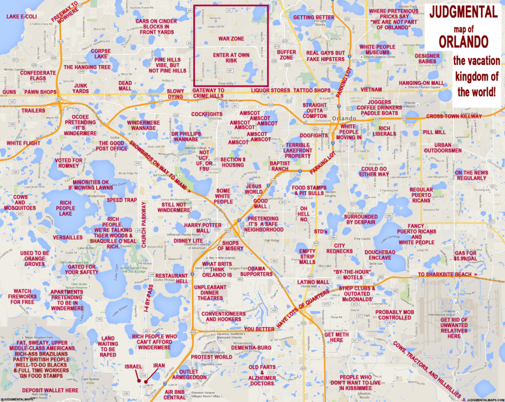 """Judgmental Maps"""" Takes On Orlando With Hilariously Offensive Results - Orlando Florida Map"""