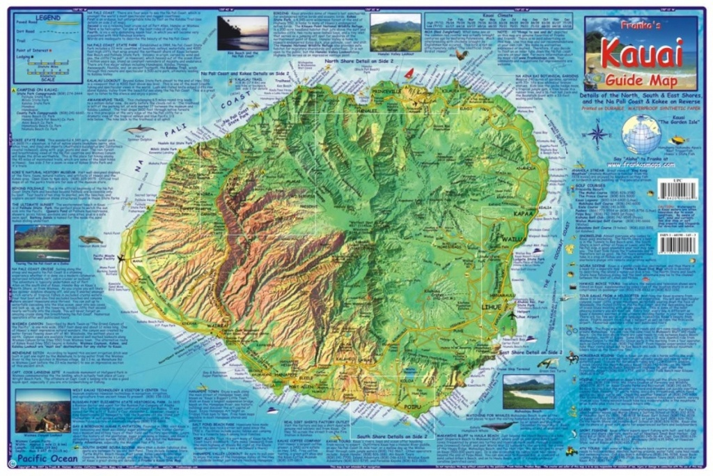 Kauai Guide Map, Laminatedfrankos Maps Ltd | Products | Hawaii - Printable Map Of Kauai Hawaii