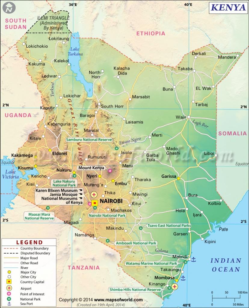 Kenya Map | Map Of Kenya - Printable Map Of Kenya