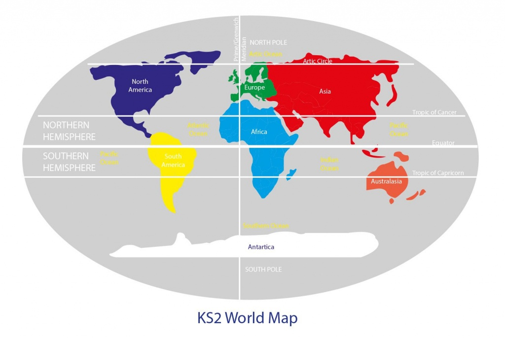 Key Stage 2 World Map With Continents , Equator , Northern And - Printable World Map With Hemispheres