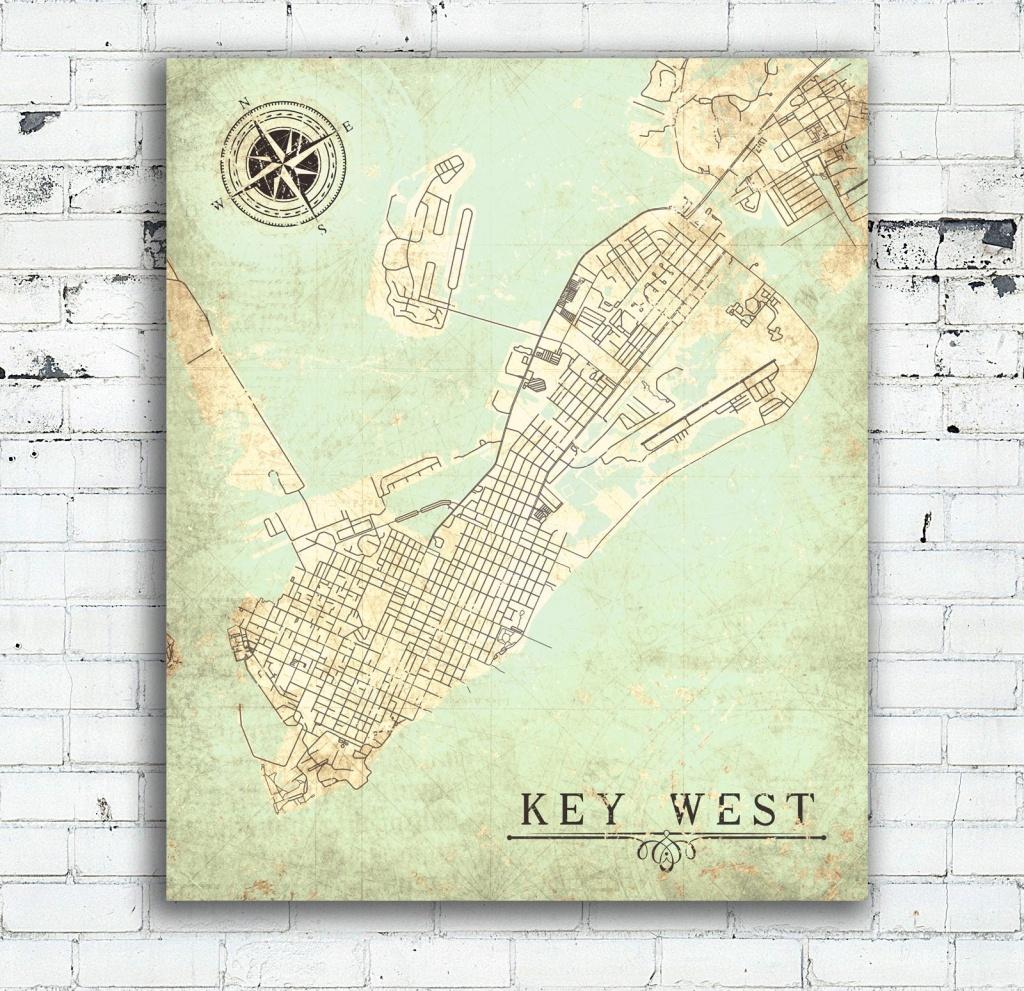 Key West Fl Canvas Print Florida Keys Fl Vintage Map City Plan Map - Florida Keys Map Poster