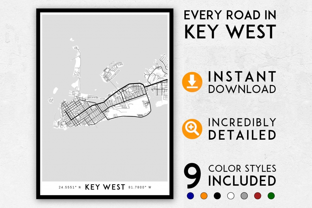 Key West Map Print Key West Print Florida Keys Map Key West | Etsy - Key West Street Map Printable