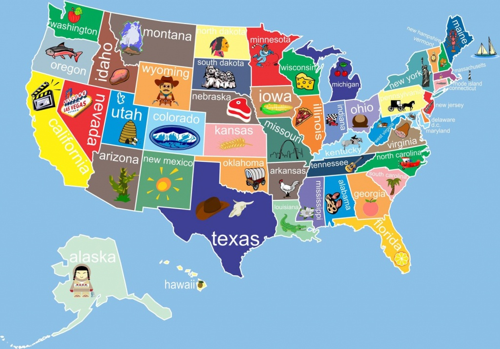 Kids United States Map 12 X 18 Classroom Art. $24.00, Via Etsy - Printable Children's Map Of The United States