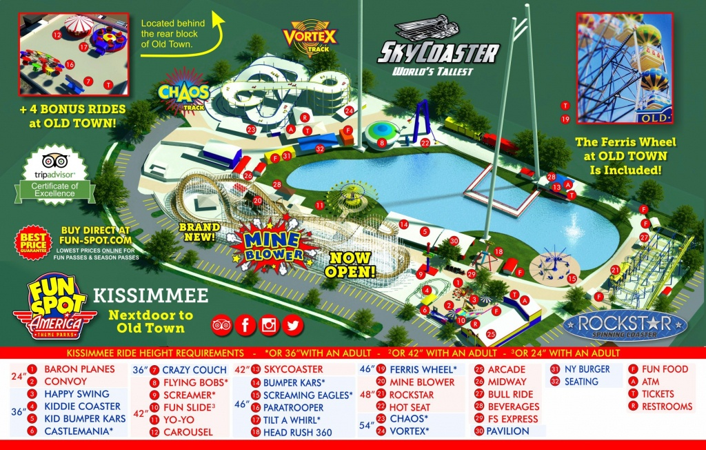 Kissimmee Theme Park Map | Fun Spot Kissimmee Map - Map Of Amusement Parks In Florida
