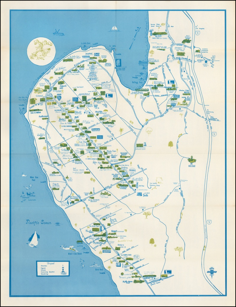 "La Jolla ""the Jewel"" - Barry Lawrence Ruderman Antique Maps Inc. - La Jolla California Map"