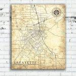 Lafayette La Canvas Print Louisiana La City Vintage Map Gift Home   Printable Map Of Lafayette La