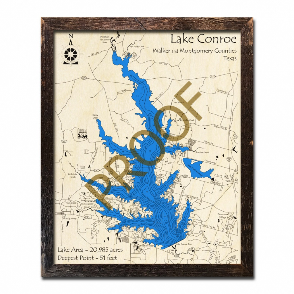 Lake Conroe, Texas 3D Wooden Map | Framed Topographic Wood Chart - Map Of Lake Conroe Texas
