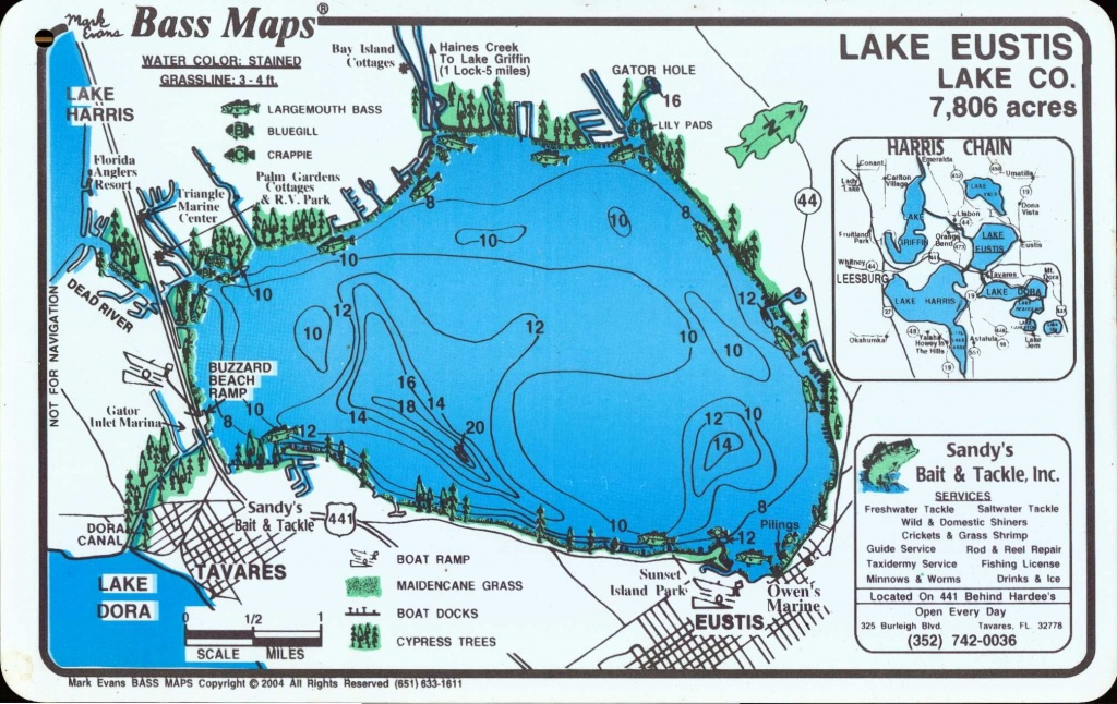 Lake Eustis , In Eustis City ,en La Florida (Centro Florida - Florida Fishing Lakes Map