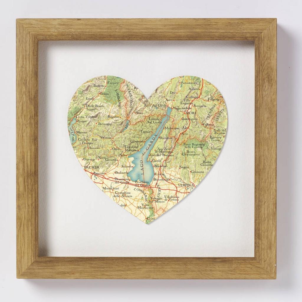 Lake Garda Italy Map Heart Print - Printable Map Of Lake Garda