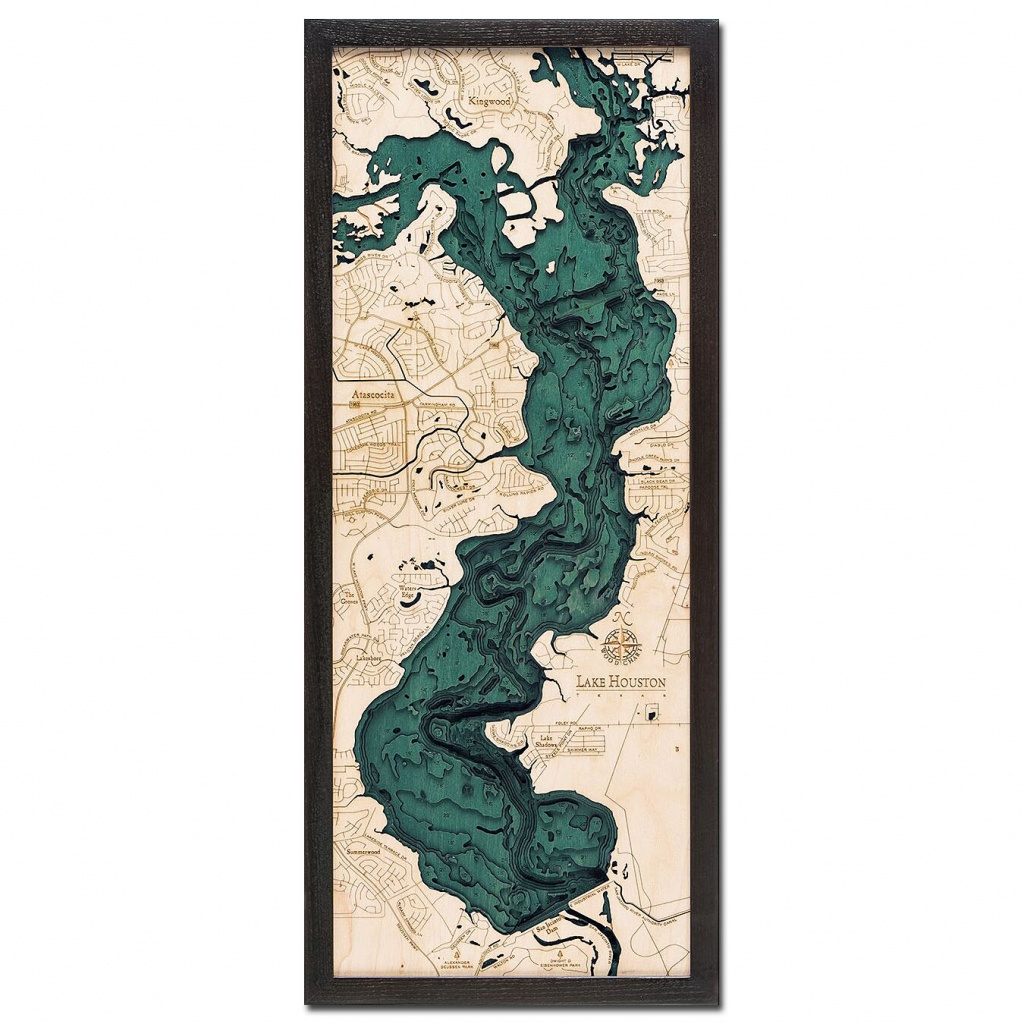 Lake Houston, Tx 3D Wood Map | Framed 3D Topographic Wood Chart - 3D Topographic Map Of Texas