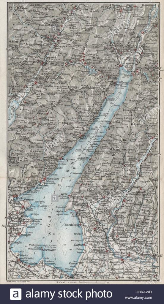 Lake Lago Di Garda. Vintage Map Plan. Salo Riva. Italy, 1924 Stock - Printable Map Of Lake Garda