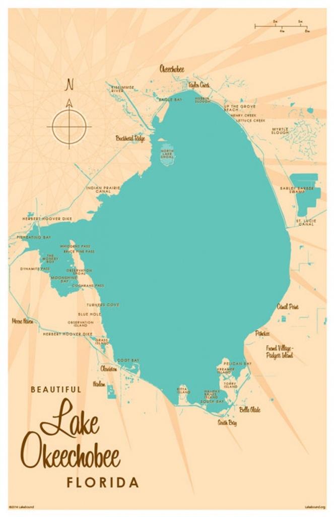 Lake Okeechobee Fl Map Art Print | Etsy - Lake Okeechobee Florida Map