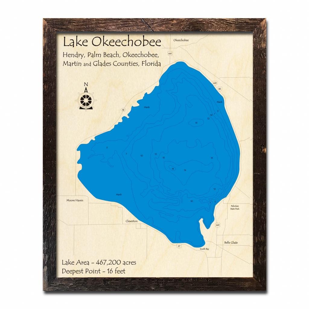 Lake Okeechobee, Fl Nautical Wood Maps - Lake Okeechobee Florida Map