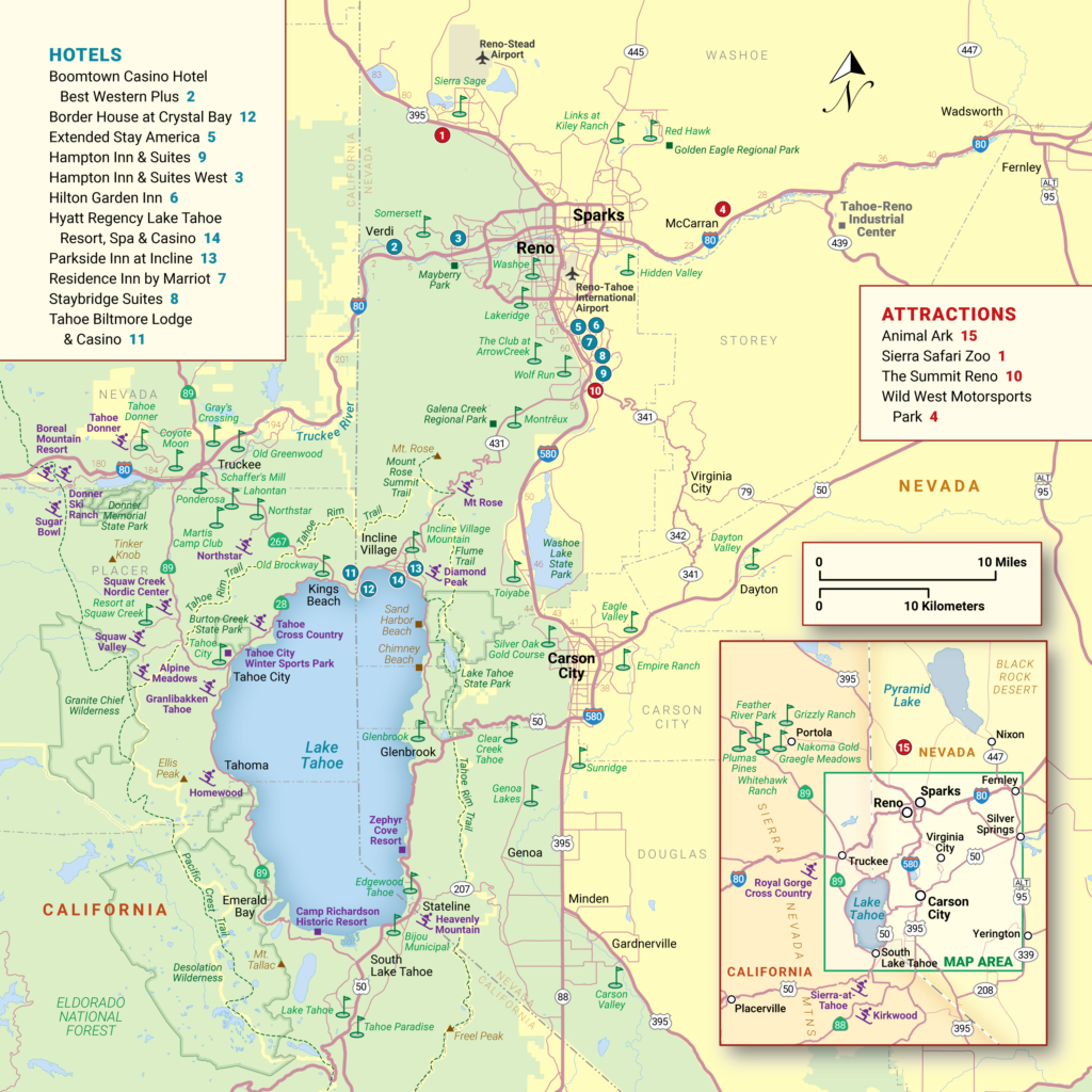 Lake Tahoe Maps And Reno Maps | Discover Reno Tahoe - Map Of Lake Tahoe Area California