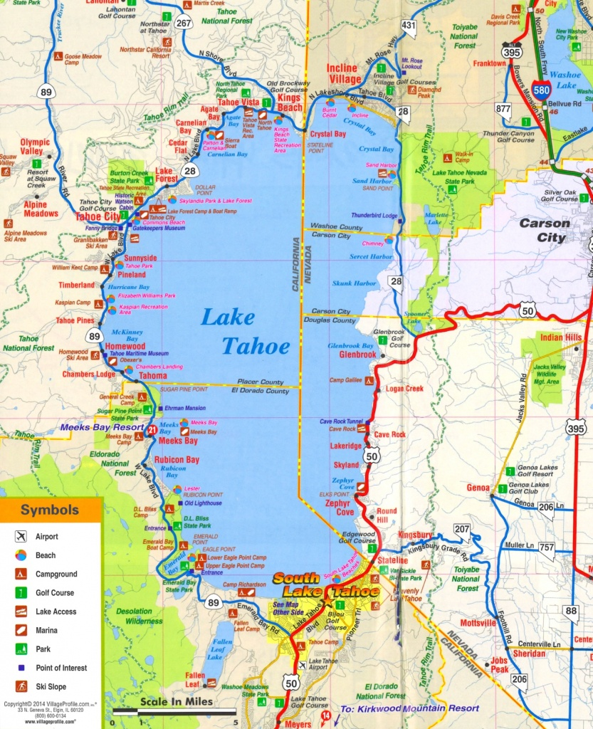 Lake Tahoe Tourist Attractions Map - Map Of Lake Tahoe Area California