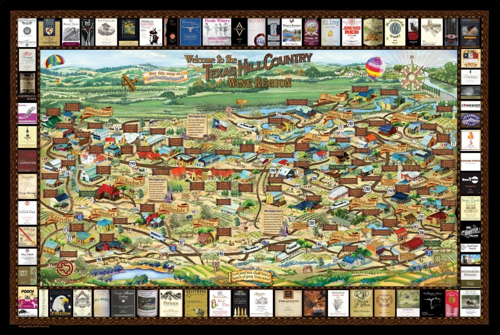 Laminated Texas Wine Map | Texas Wineries Map |Texas Hill Country - Hill Country Texas Wineries Map