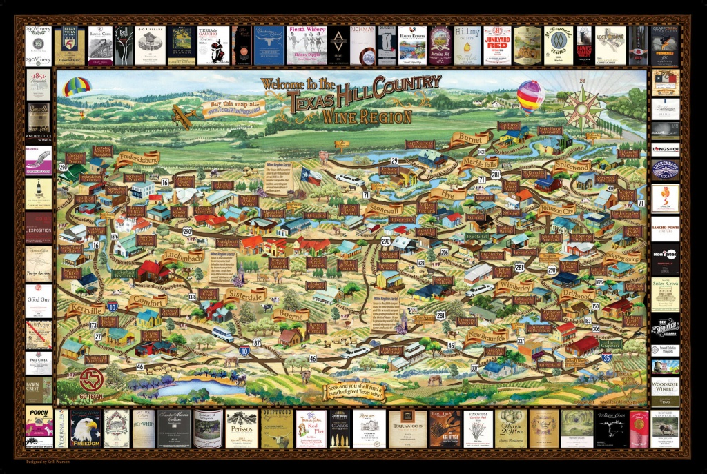 Laminated Texas Wine Map | Texas Wineries Map |Texas Hill Country - Texas Hill Country Wineries Map