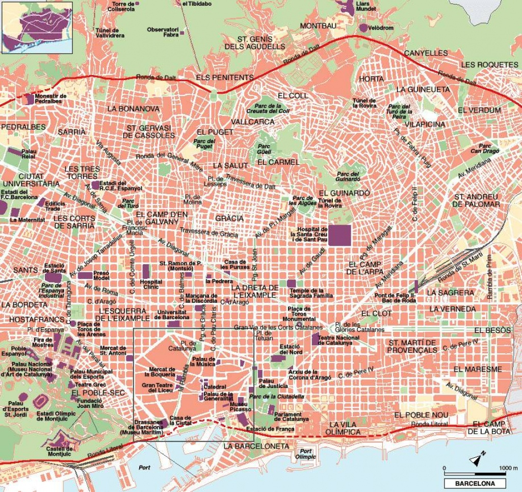 Large Barcelona Maps For Free Download And Print | High-Resolution - City Map Of Barcelona Printable