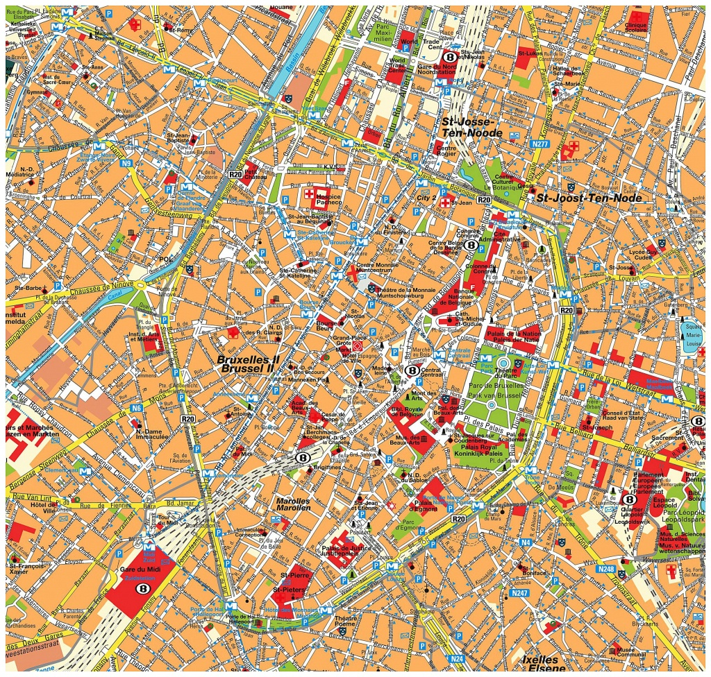 Large Brussels Maps For Free Download And Print | High-Resolution - Printable Map Of Brussels