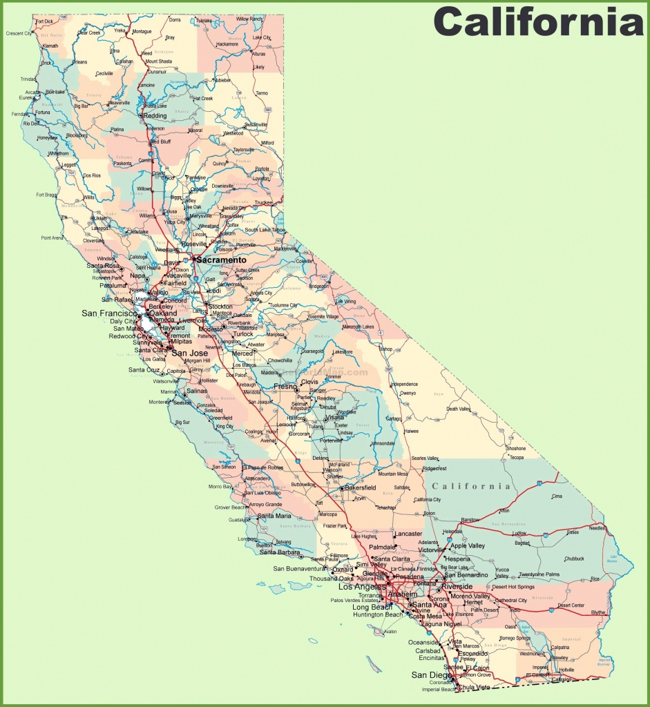 Large California Maps For Free Download And Print | High-Resolution - Map Of Northern California Cities And Towns