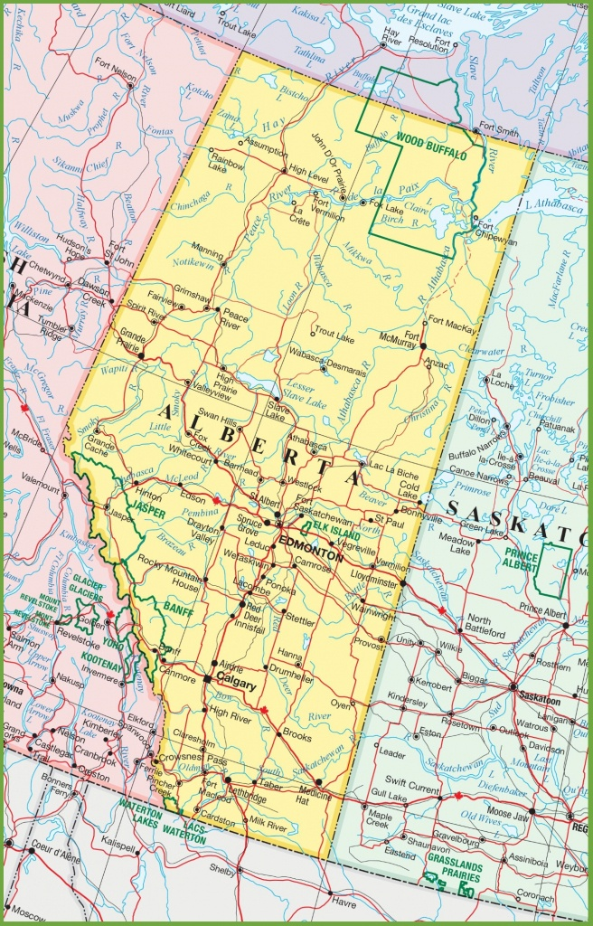 Large Detailed Map Of Alberta With Cities And Towns - Printable Alberta Road Map