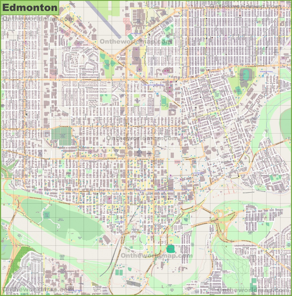 Large Detailed Map Of Edmonton - Printable Map Of Edmonton