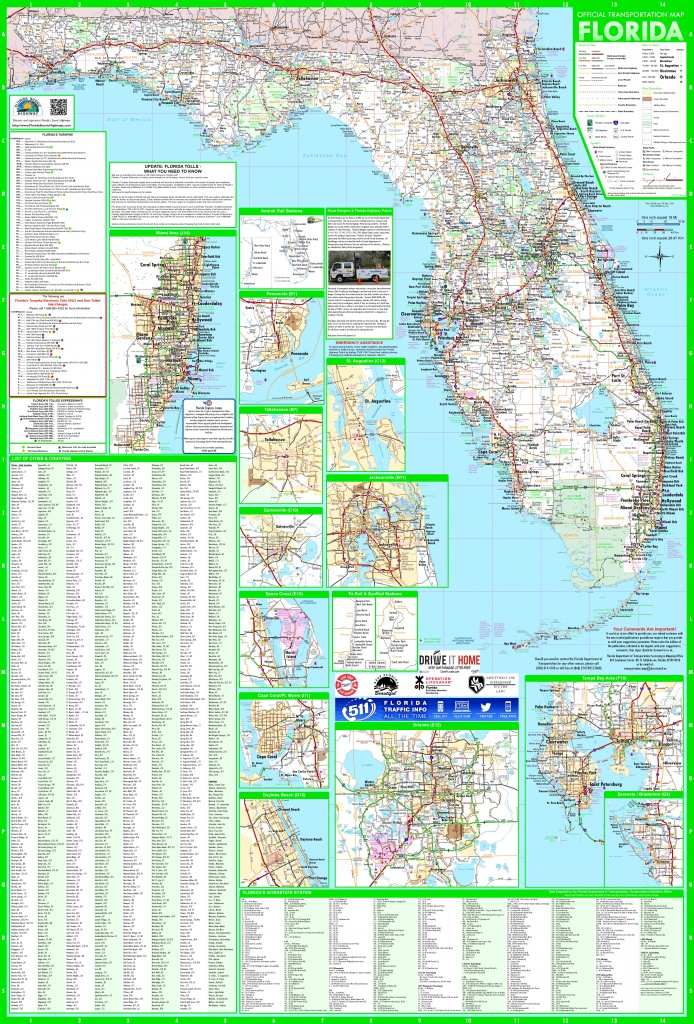 Large Detailed Map Of Florida With Cities And Towns - Printable Map Of Florida Cities