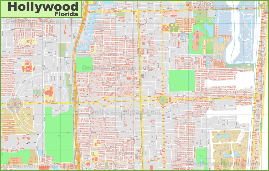 Large Detailed Map Of Hollywood (Florida) - Hollywood Beach Florida Map