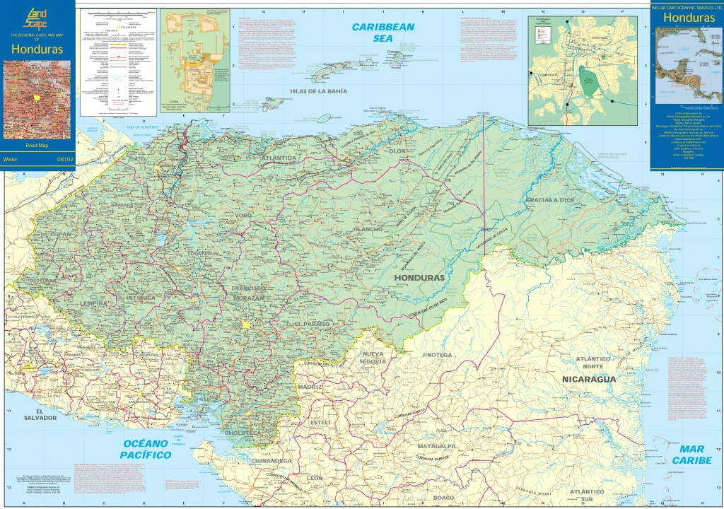 Large Detailed Map Of Honduras With Cities And Towns - Printable Map Of Honduras