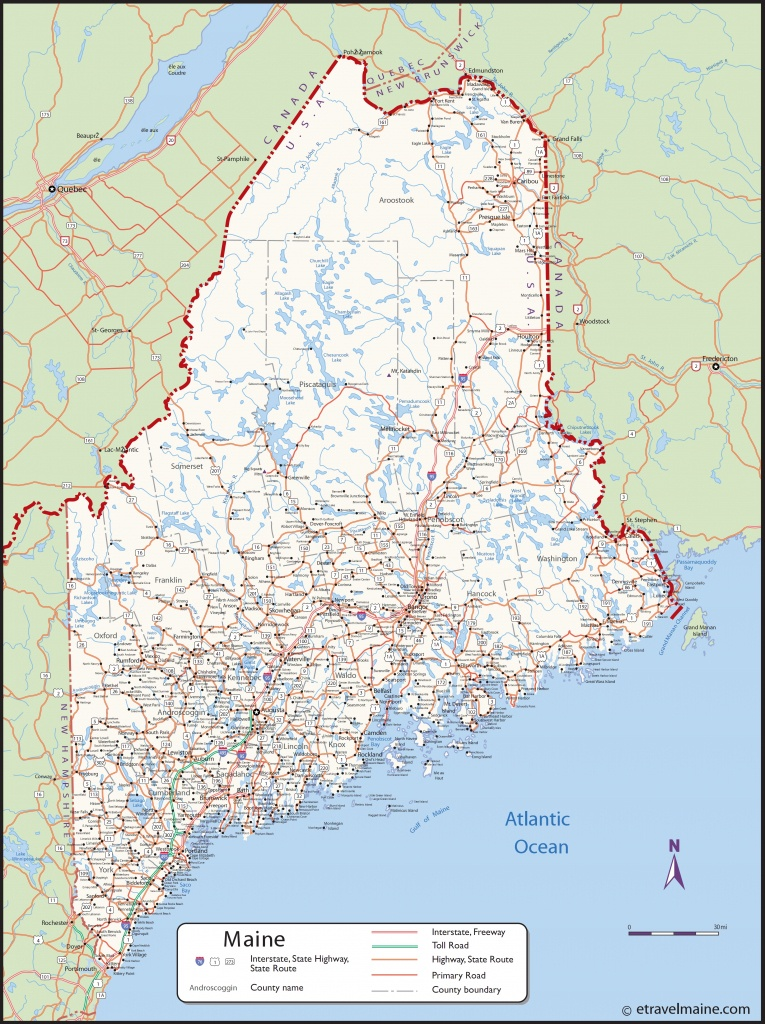 Large Detailed Map Of Maine With Cities And Towns - Printable Map Of Maine