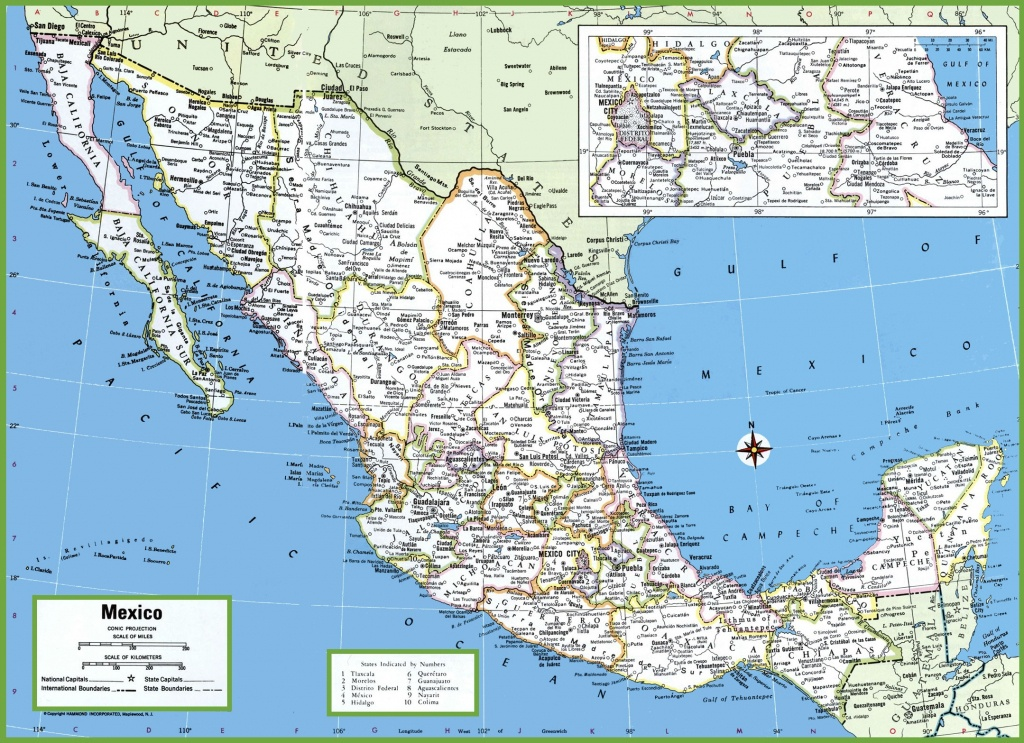 Large Detailed Map Of Mexico With Cities And Towns - Free Printable Map Of Mexico