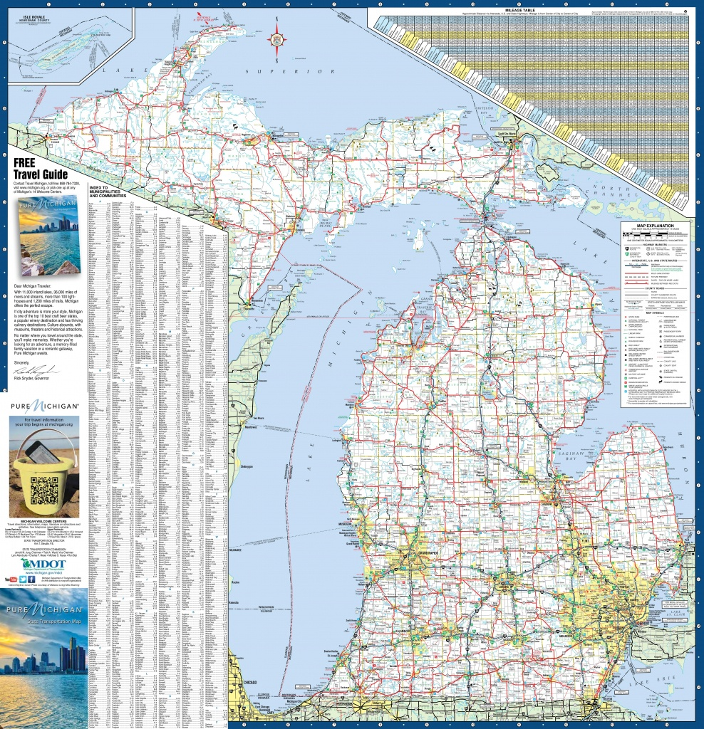 Large Detailed Map Of Michigan With Cities And Towns - Michigan County Maps Printable