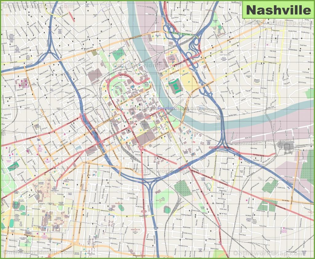 Large Detailed Map Of Nashville - Printable Map Of Nashville