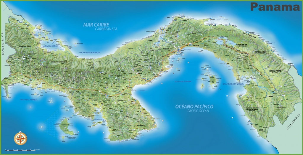 Large Detailed Map Of Panama With Cities And Towns - Printable Map Of Panama